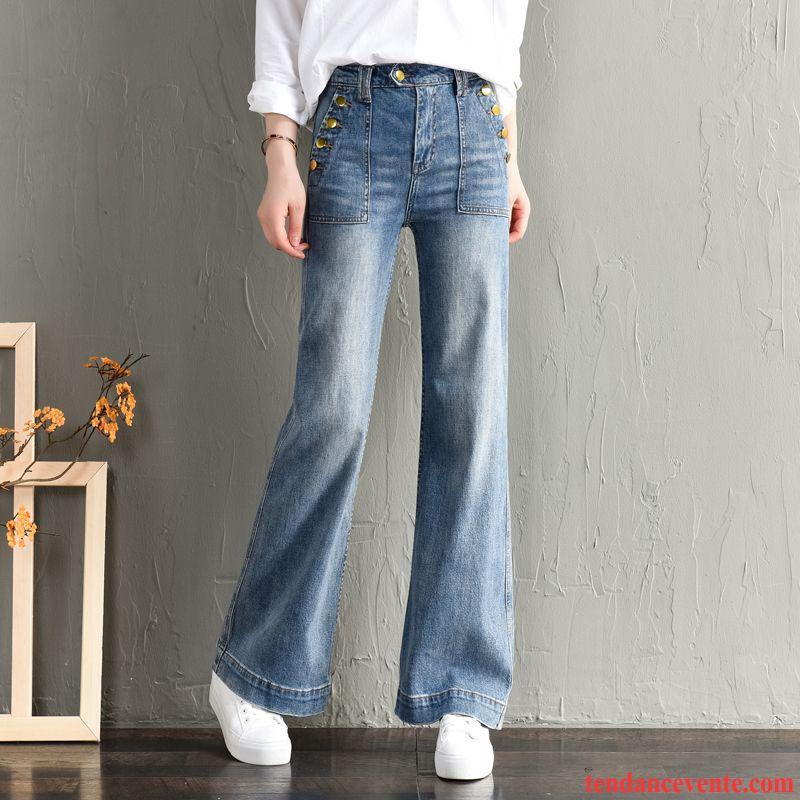 Jeans Femme Pantalon Jambe Droite Baggy Mince L'automne Forme Haute Cintrée Bleu Clair