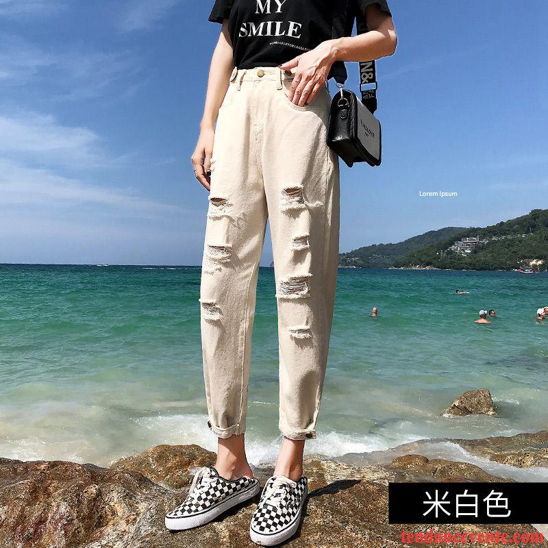 Jeans Femme Printemps Neuvième Pantalon Été Baggy Harlan Troués Blanc
