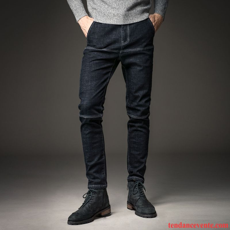 Jeans homme fashion noir mode homme l 39 automne hiver slim d contract e tendance jeunesse pantalon - Jean mode homme ...