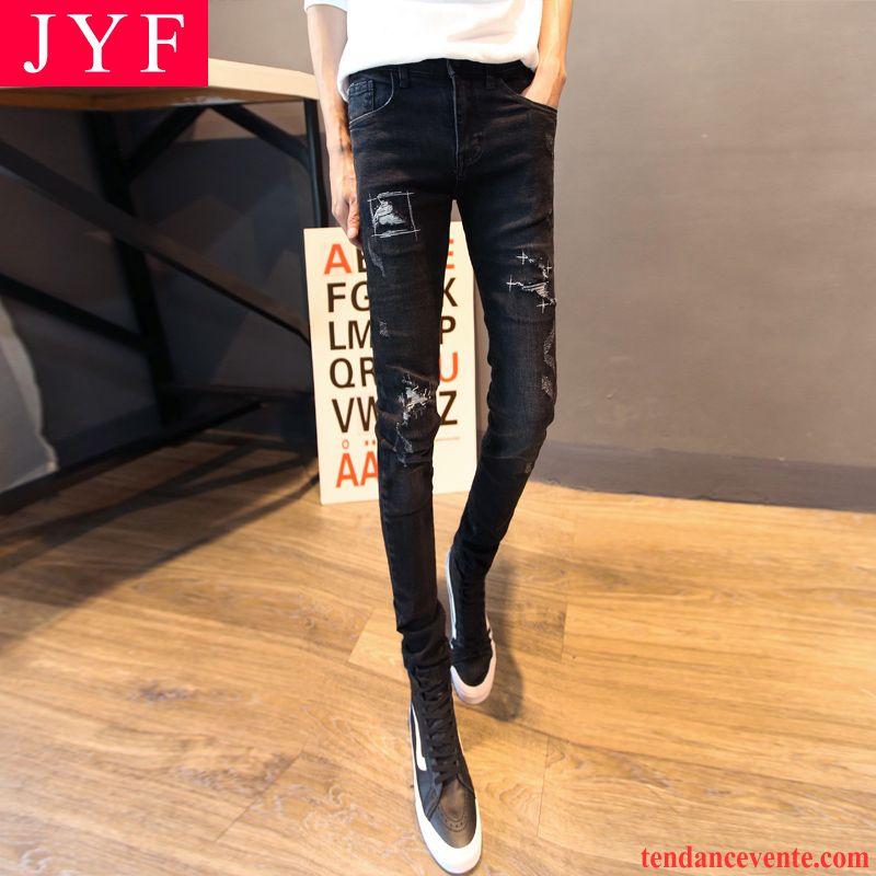 Jeans Homme Skinny Tendance Jeunesse Hiver L'automne Mince Troués Slim Homme Noir Maigre