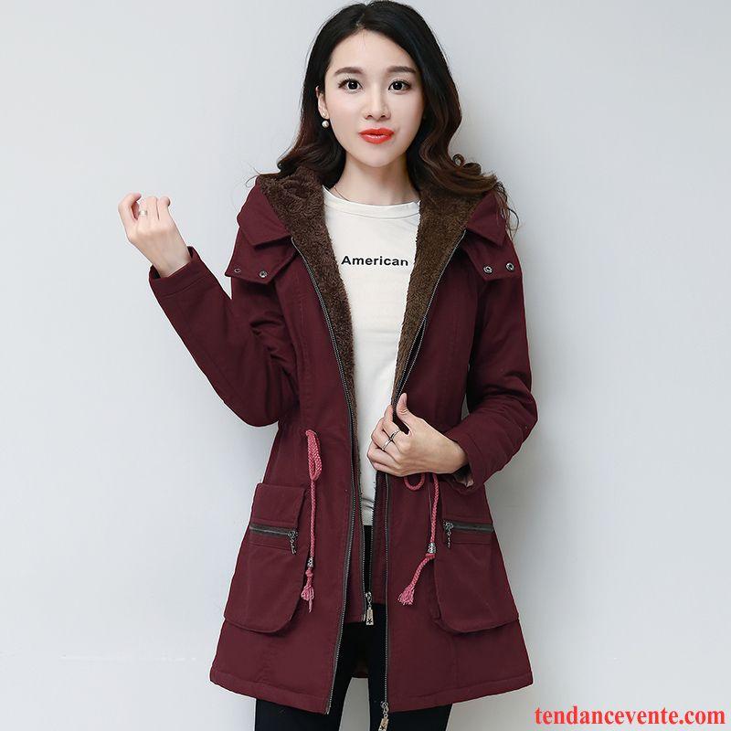 de849dfa0311 Manteau Femme Chaud Capuche Plus De Velours Longue Hiver Manteau En Coton  Capuche Pardessus L automne ...