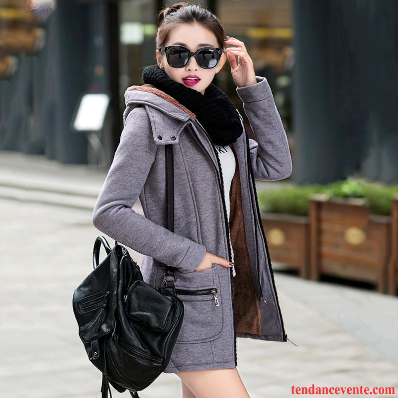 53413438898dc Manteau Hiver Noir Femme Coupe Vent Printemps Longues Hoodies L ...