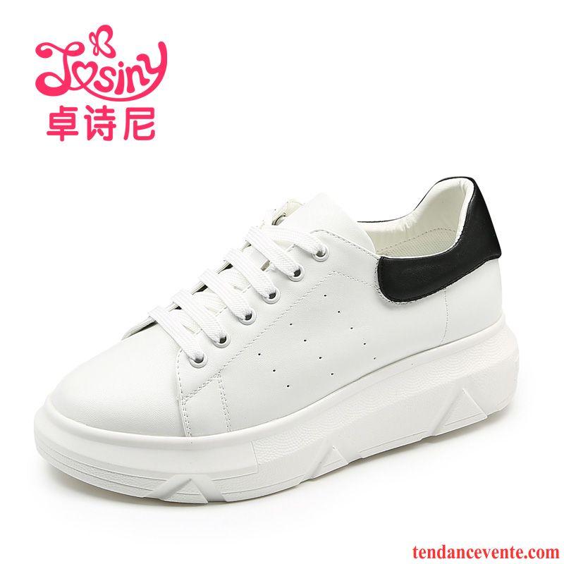 ac1ad607508e88 Mocassin Femme Chic Blanc Semelle Épaisse Femme Étudiant Laçage Printemps  Sport Derbies Chaussures De Skate