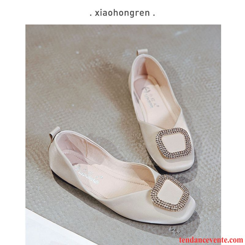 Mocassins Femme Plates Slip-on Imitation Strass Semelle Doux Derbies Printemps Blanc Rouge Clair