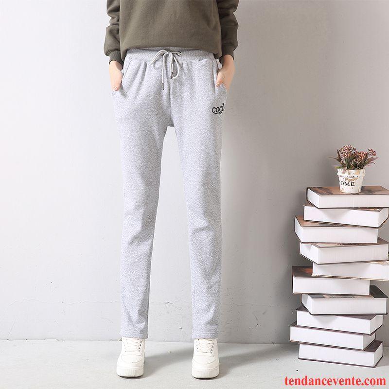 Pantacourt Taille Haute Plus De Velours Baggy Décontractée Hiver Pantalon Mince Femme Renforcé Jambe Droite Fille Sport Taillissime Étudiant