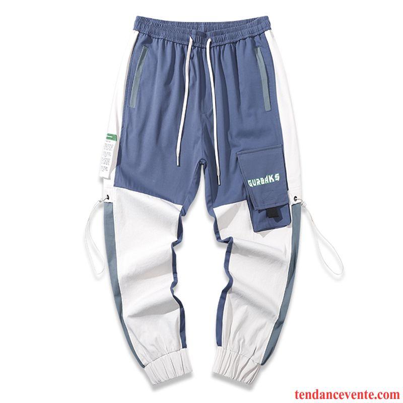 Pantalon Cargo Homme Épissure Tendance Baggy Beau Bureau Pantalons Bleu