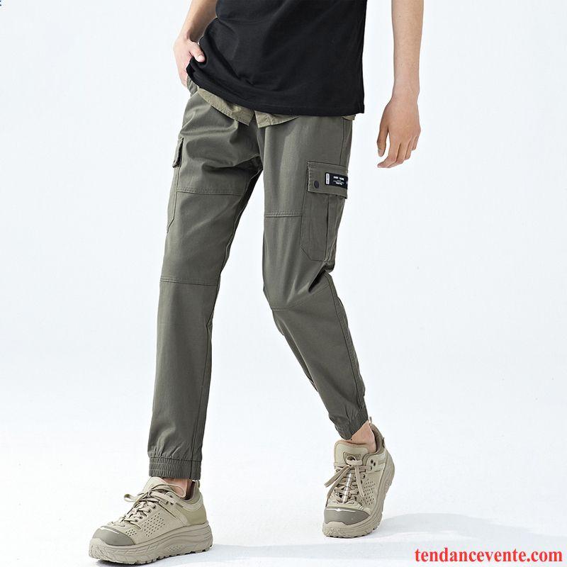 Pantalon Cargo Homme Été Jambe Droite Baggy Légère Tendance Pantalons Gris