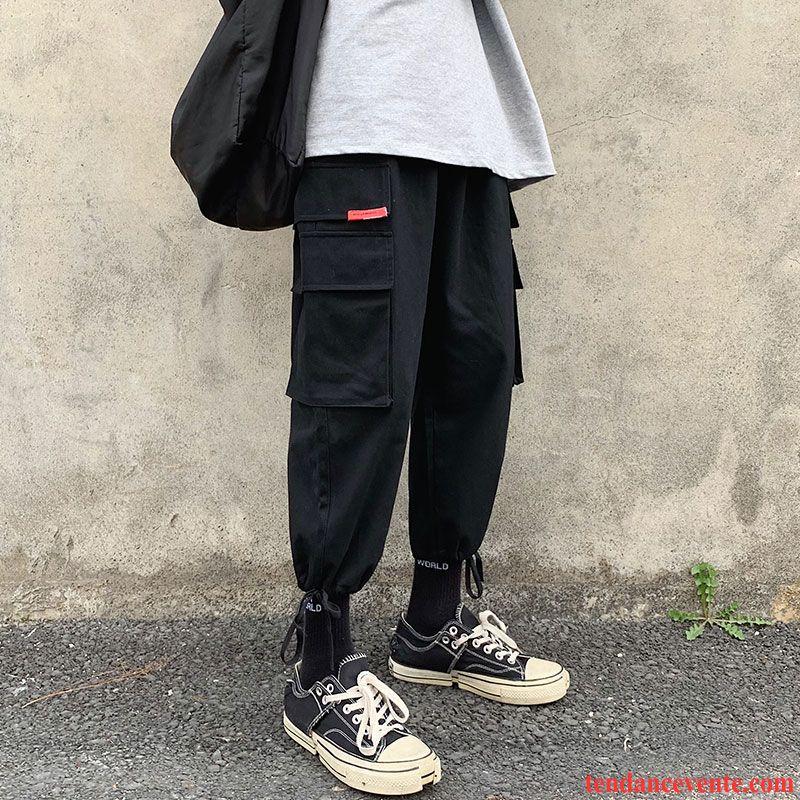 Pantalon Cargo Homme Baggy Pantalons Étudiant Tendance Été Printemps Noir