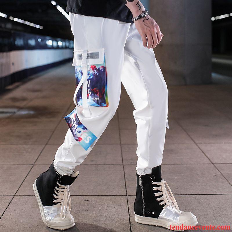 Pantalon Cargo Homme Baggy Sport Tous Les Assortis Tendance Bureau Décontractée Blanc