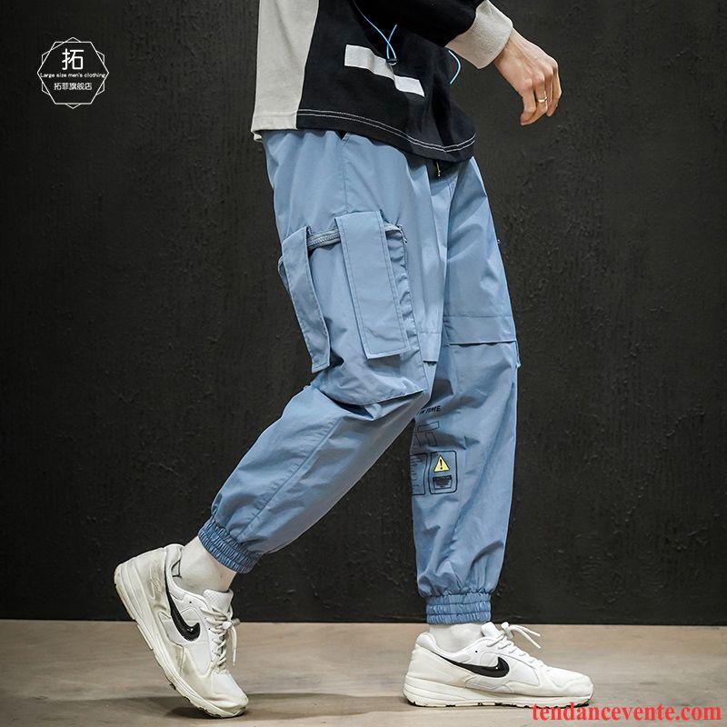 Pantalon Cargo Homme Baggy Tendance Décontractée Graisse Taillissime L'automne Bleu