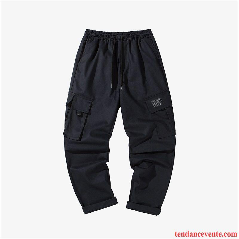 Pantalon Cargo Homme Baggy Tendance Ultra Pantalons Jambe Droite Beau Noir Rouge