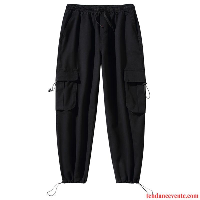 Pantalon Cargo Homme Jambe Droite Baggy Bureau Tous Les Assortis Tendance Beau Noir