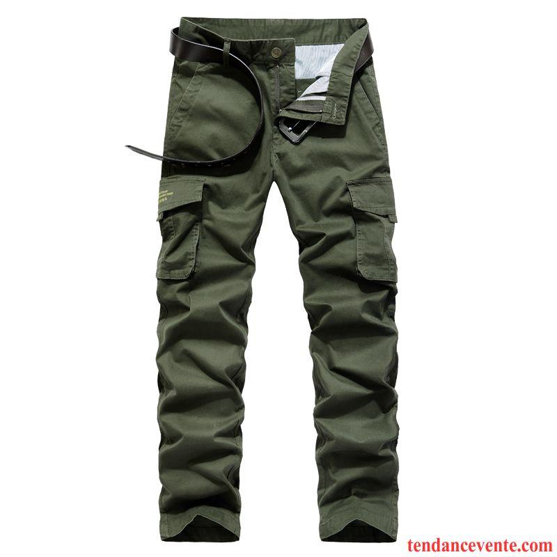Pantalon Cargo Homme Multi-poche Bureau Taillissime Pantalons Baggy Printemps Vert