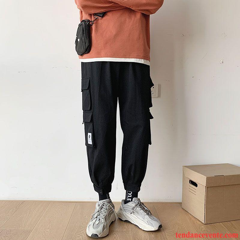 Pantalon Cargo Homme Printemps Jambe Droite Bureau Tendance Baggy Neuvième Pantalon Noir