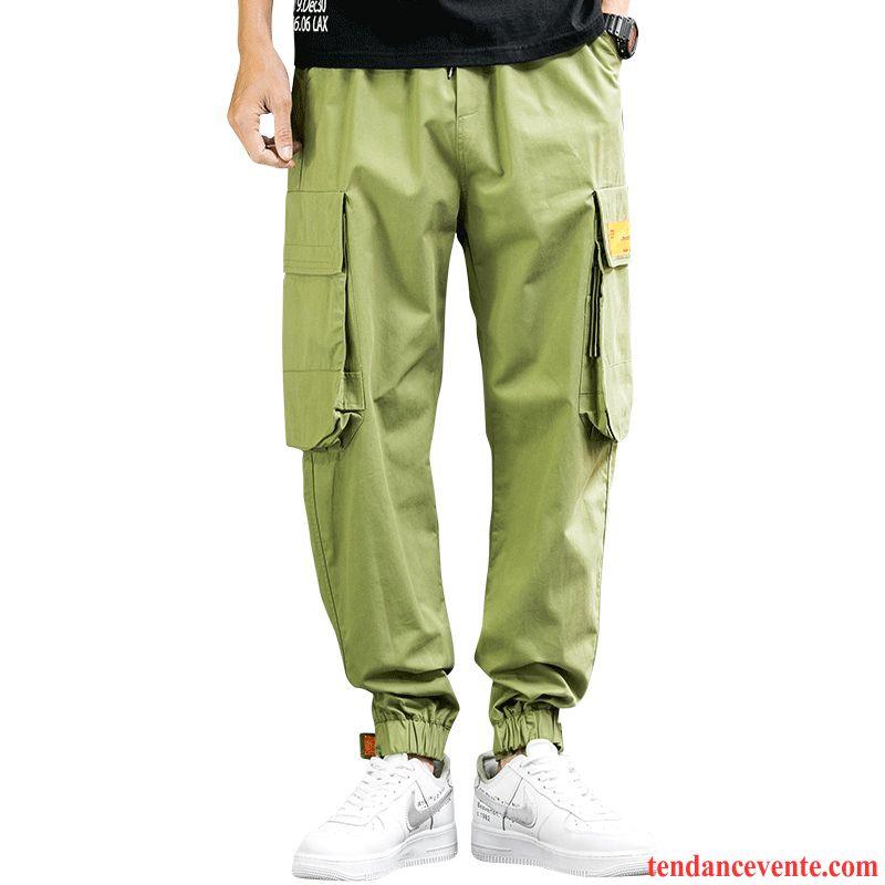 Pantalon Cargo Homme Sport Tendance Baggy Printemps Décontractée Bureau Vert