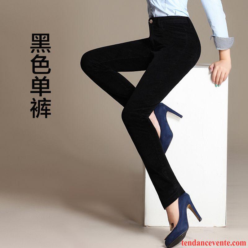 Pantalon De Toile Femme Velours Côtelé Forme Haute Cintrée Pantalon L'automne Renforcé Plus De Velours Extensible Hiver Femme Taillissime Jambe Droite Argent