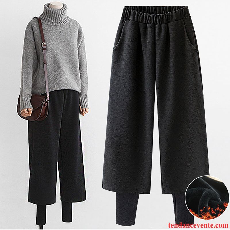 Pantalon Femme Coton Hiver Femme Deux-pièces De Laine Plus De Velours Renforcé Saumon