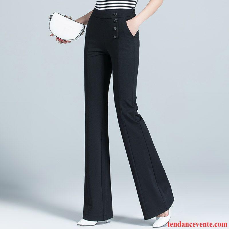 Pantalons Femme Extensible Taillissime Jean Évasé Forme Haute Cintrée Mince Printemps Noir