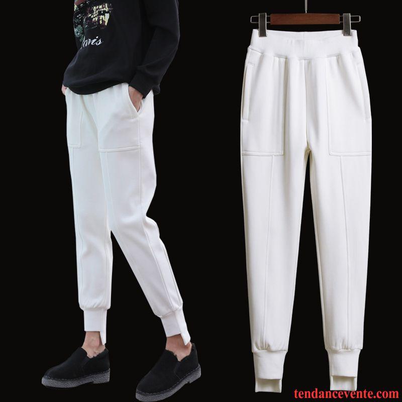 Pantalons Femme Renforcé Plus De Velours Sport Harlan Hiver Forme Haute Cintrée Blanc