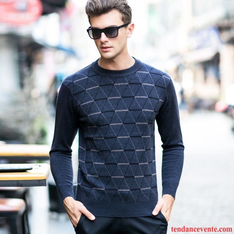 Pull Avec Gros Col Homme Tricots En Maille Pull Homme Pullovers Col Rond Renforcé Hiver Pierre