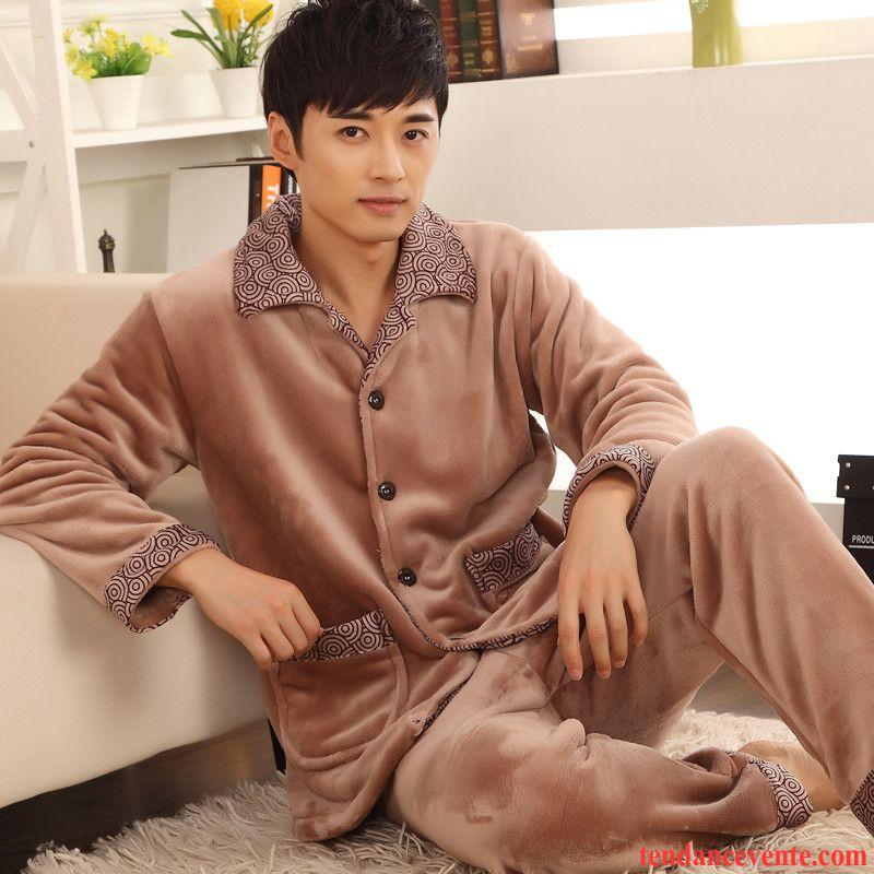 Pyjamas Coton Pas Cher Renforcé L'automne Ensemble Hiver Gros Homme Taillissime Longues Marron Pas Cher
