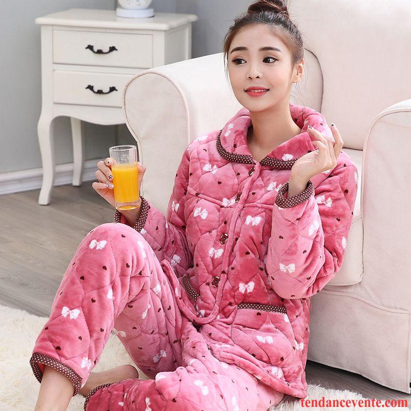 55e8177d7f8d46 Pyjamas Imprimé Femme Renforcé Hiver Ensemble Femme Matelassée ...