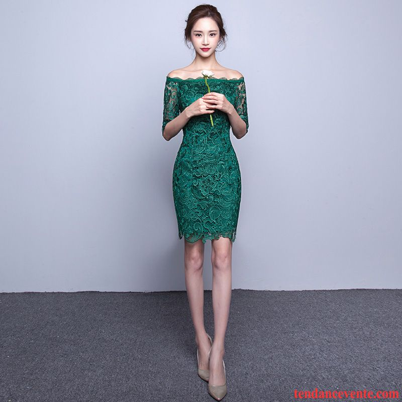 Robe A Fleur Femme Robe Rouge Court Femme L'automne Robe Chinoise Slim Vert Pas Cher