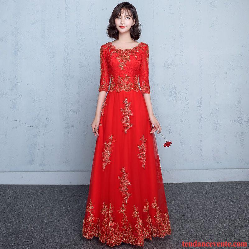 Robe Bustier Courte Manche Mode Femme Rouge Slim Mariage L'automne Longue Hiver