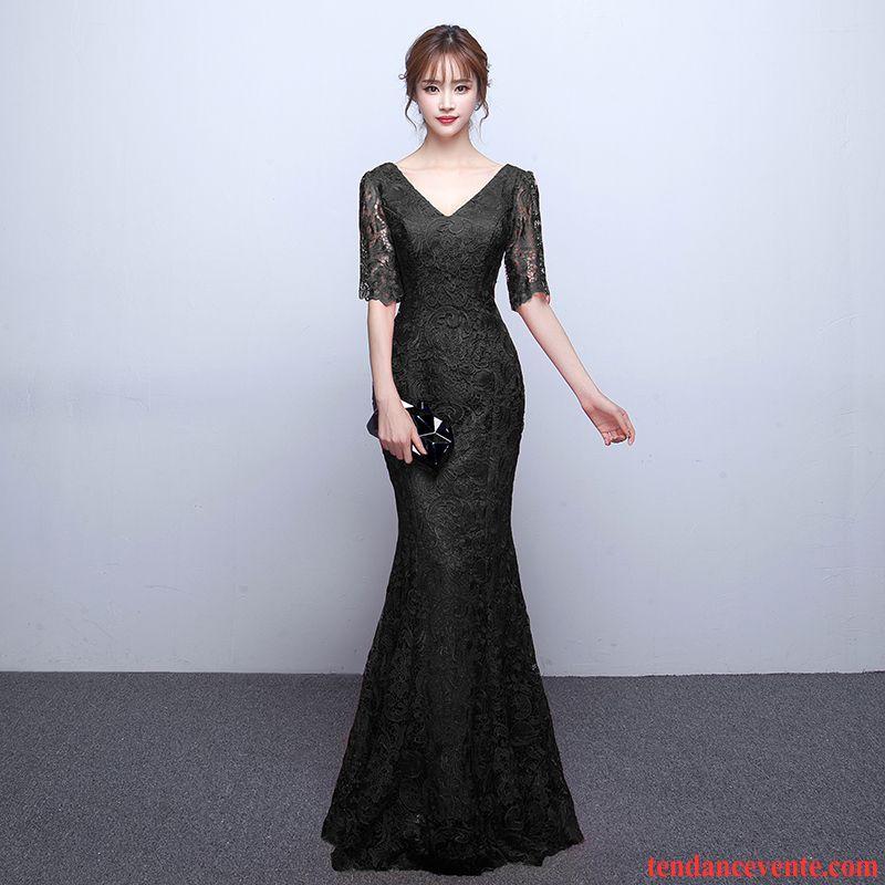 Robes D Hiver Manches Longues Slim Mince Longue Queue De Poisson Femme Noir Robe Col En V Mode Élégant Saphir Pas Cher