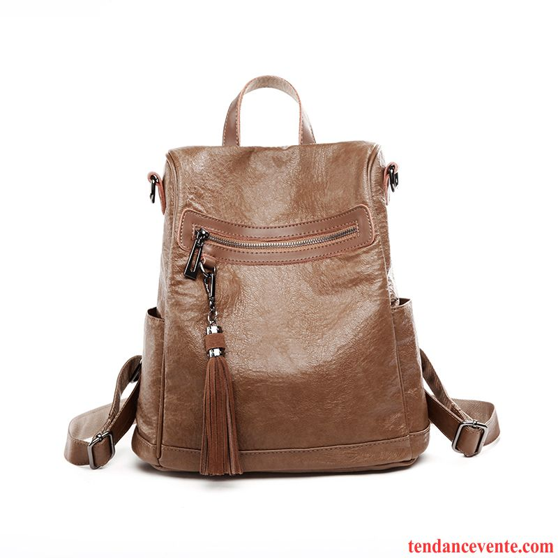 Sac À Dos Femme Peau Douce All-match Antivol Simple Cuir De Vache Le Nouveau Marron