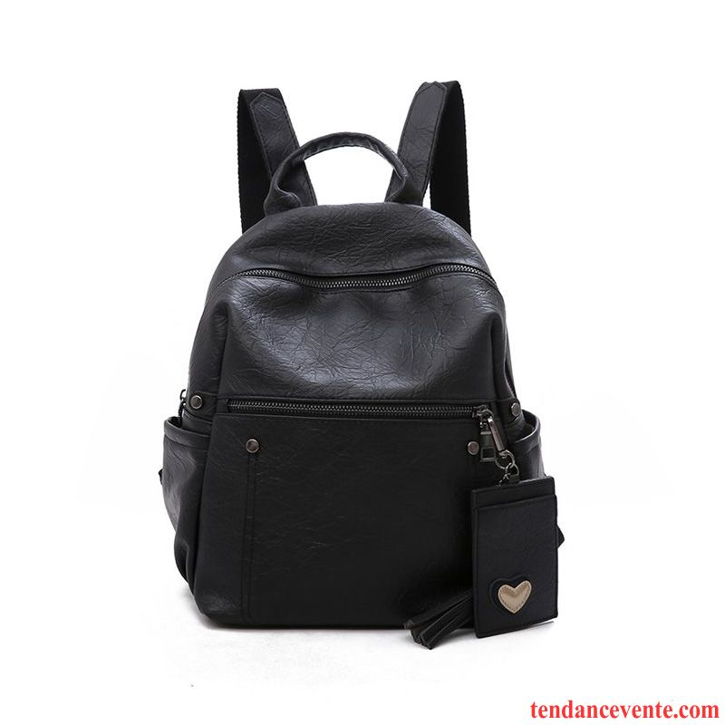 Sac À Dos Femme Ultra Cartable Vent De L'université Cuir Véritable All-match Simple Noir