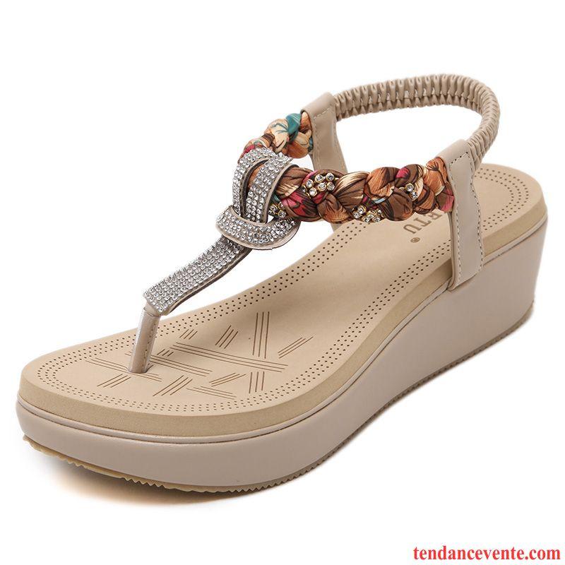 magasin renommée mondiale sur les images de pieds de Sandales Femme Argenté Semelle Doux Talons Compensés Plage ...