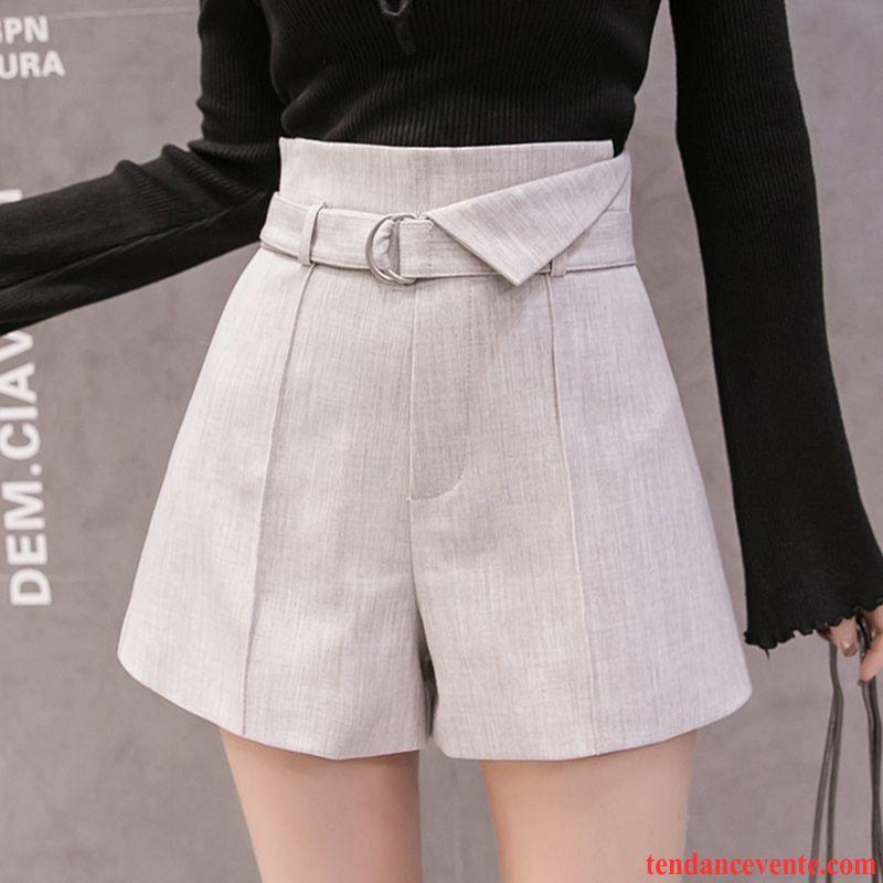 Shorts Femme Shorti A Lettre Outwear Forme Haute Cintrée Mince Pantalons Gris