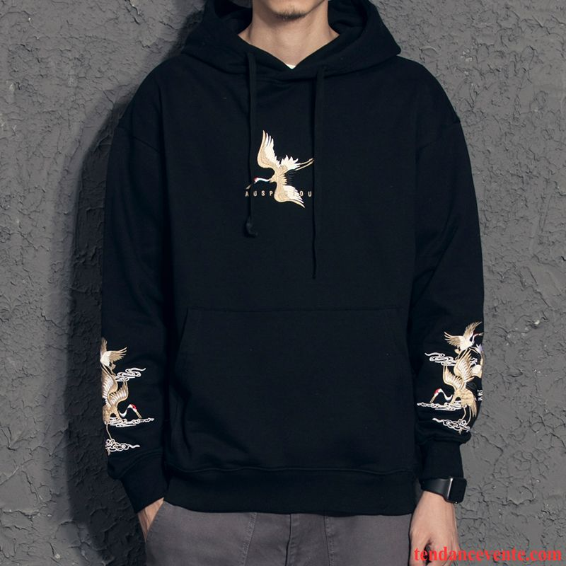 Sweat À Capuche Homme L'automne Style Chinois Tendance Broderie Hoodies Baggy Noir