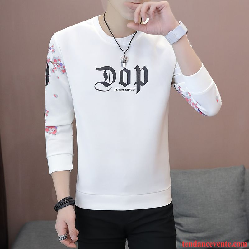 T-shirts Homme Chemise En Bas Printemps Une Veste Tendance Longues Bleu Blanc