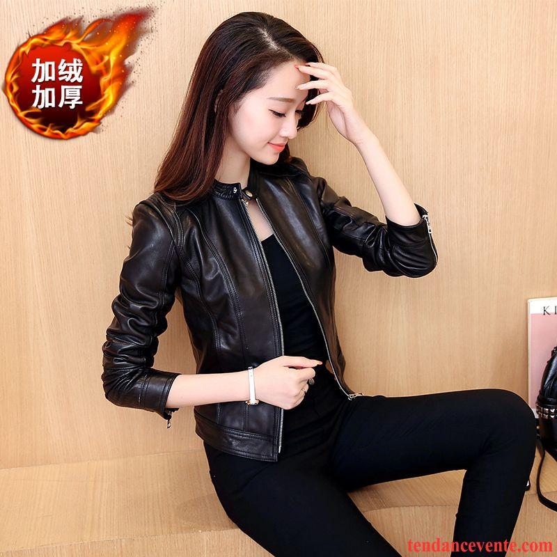 blouson cuir marron clair femme femme noir taillissime court printemps veste slim pardessus. Black Bedroom Furniture Sets. Home Design Ideas