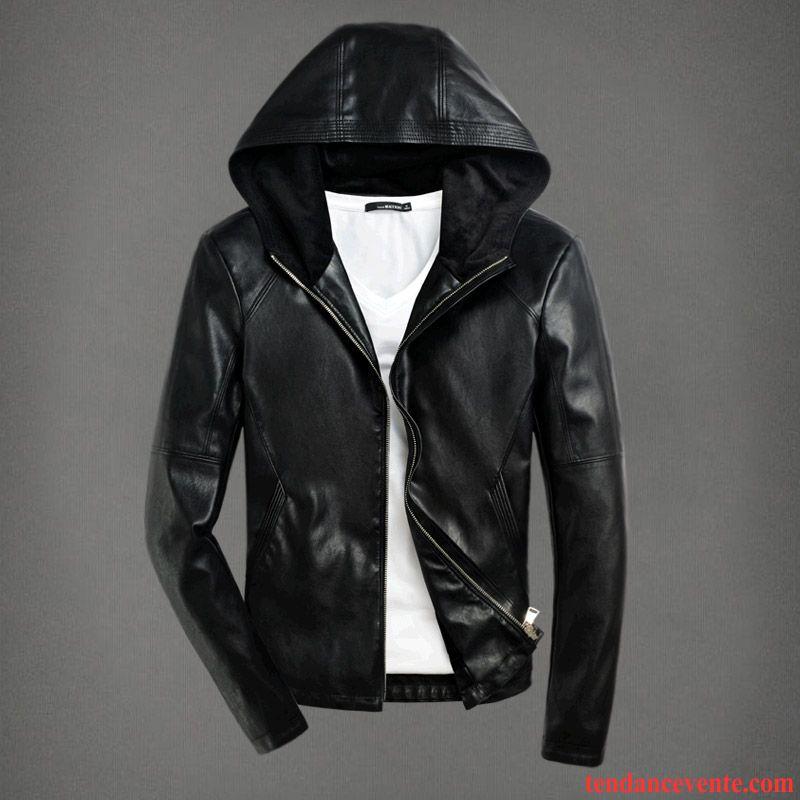 blouson veste cuir homme l 39 automne pardessus jeunesse plus. Black Bedroom Furniture Sets. Home Design Ideas