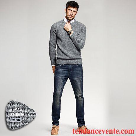 Veste Pour Homme Tricots En Maille Pullovers Hiver Homme Slim Col Rond Lilas