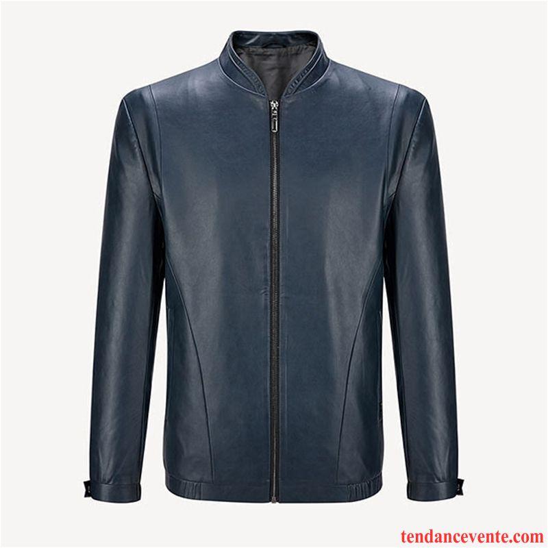 Vestes En Cuir Homme Col Mandarin Respirant Décontractée Locomotive Pardessus Slim Pure Bleu