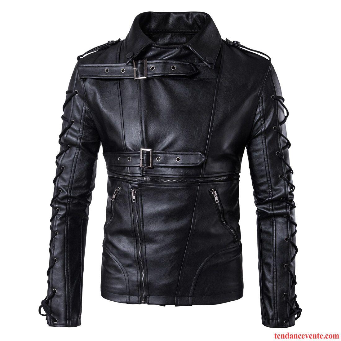 Vestes En Cuir Homme Mode Pardessus Printemps Personnalité Tous Les Assortis Taillissime Noir