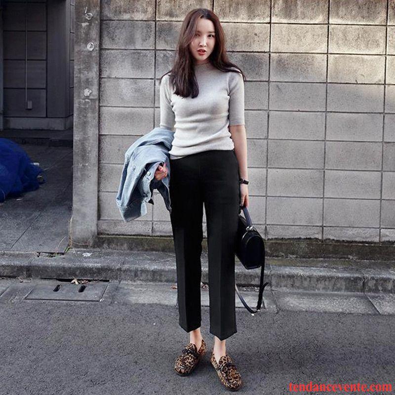 Vetement En Lin Femme Hiver De Laine Jambe Droite Décontractée Costume Pantalon Neuvième Pantalon Femme Forme Haute Cintrée L'automne